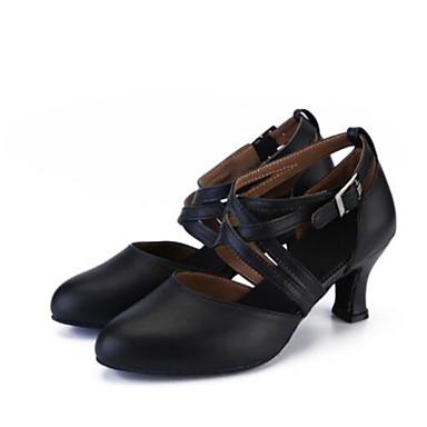בגדי ריקוד נשים נעלי ריקוד סינטטיים נעליים מודרניות עקבים עקב קובני מותאם אישית שחור / הצגה