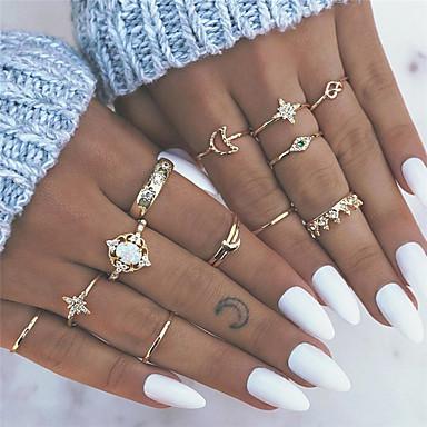 billige Motering-Dame Nail Finger Ring Ring Set Midi Ring Opal 13pcs Gull Legering Rund Geometrisk Form Bohemsk Mote Bohem Fest Gave Smykker Vintage Stil Hjerte Blomst Krone Kul Smuk