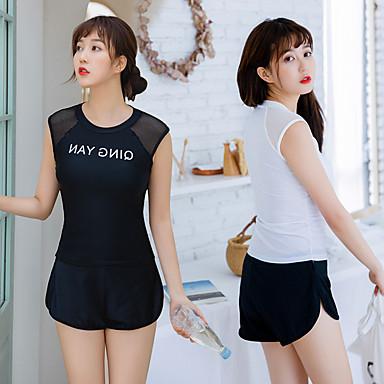 בגדי ריקוד נשים שני בגד ים אלסטיין בגדי ים הגנה מפני השמש UV ייבוש מהיר ללא שרוולים 2חלקים - שחייה ציור אביב קיץ / גמישות גבוהה