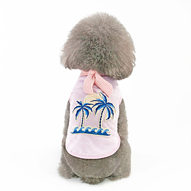 כלבים טי שירט בגדים לכלבים פרחוני  בוטני לבן ורוד כותנה / פוליאסטר תחפושות עבור אביב, סתיו, חורף, קיץ שמלות וחצאיות