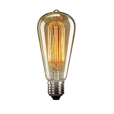 billige Elpærer-1pc 60 W E26 / E27 ST64 Varm hvit 2300 k Kontor / Bedrift / Dekorativ Glødende Vintage Edison lyspære 220 V / 110 V