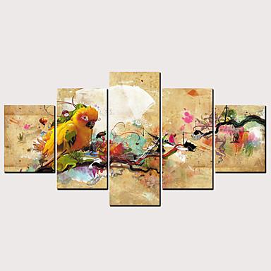 povoljno Printevi-Print Rolled Canvas Prints - Sažetak Ptice Klasik Moderna Pet ploha Umjetničke grafike