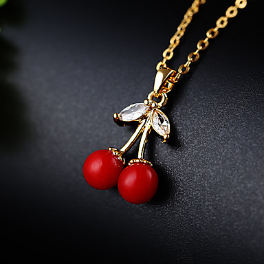 billige Halskjeder-Dame Sølv Kubisk Zirkonium Anheng Halskjede Kirsebær 18K Gullbelagt Gull Sølv 46 cm Halskjeder Smykker 1pc Til Bryllup Ferie