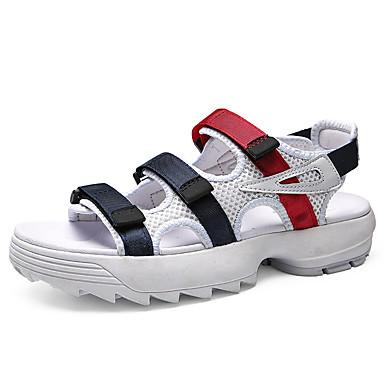 baratos Super Ofertas-Homens Sapatos Confortáveis Com Transparência Primavera Verão Sandálias Respirável Branco / Preto