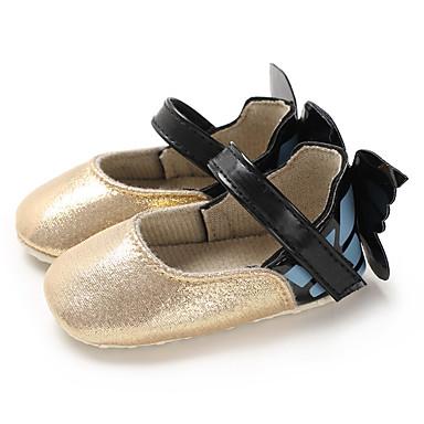 저렴한 9개월-4세 연령대-여아 PU 플랫 유아 (0-9m) / 유아 (9m-4ys) 첫 신발 골드 / 실버 / 피치 봄 / 여름