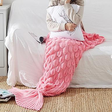 halpa Peitteet ja koristetyynyt-Merenneito Tail Blankets, Yhtenäinen Akryylikuidut Pehmeä peitot