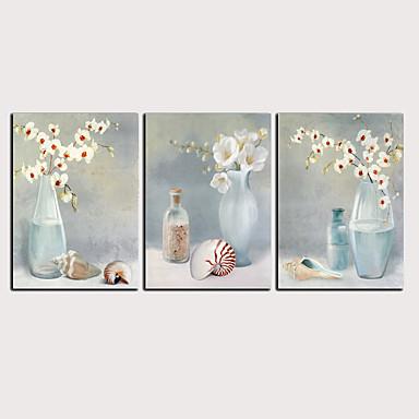 דפוס הדפסי בד מגולגל - מופשט פרחוני / בוטני קלסי מודרני שלושה פנלים הדפסים אמנותיים