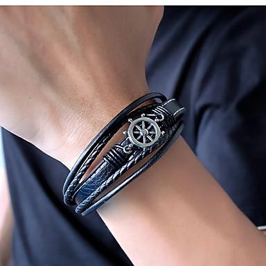 voordelige Herensieraden-Heren Lederen armbanden loom Bracelet crossover Band Stijlvol Uniek ontwerp Punk modieus Titanium Staal Armband sieraden Zwart / Bruin Voor Feest Lahja Dagelijks Carnaval Club