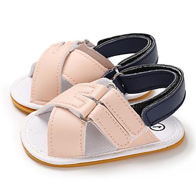 בנים / בנות צעדים ראשונים PU סנדלים תינוקות (0-9m) / פעוט (9m-4ys) כחול כהה / חום / ורוד בהיר קיץ / גומי