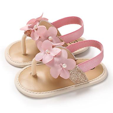 저렴한 9개월-4세 연령대-여아 PU 샌들 유아 (0-9m) / 유아 (9m-4ys) 첫 신발 골드 / 슬리버 / 핑크 여름