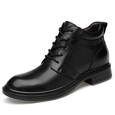 בגדי ריקוד גברים נעלי עור עור נאפה Leather אביב קיץ / סתיו חורף קלסי / יום יומי מגפיים הליכה ללא החלקה מגפונים\מגף קרסול שחור
