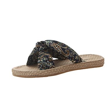 voordelige Damespantoffels & slippers-Dames Slippers & Flip-Flops Platte hak Chiffon Zomer Zwart / Donkerblauw / Rood