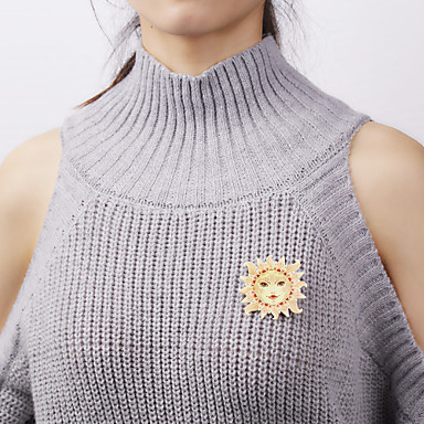 בגדי ריקוד נשים תפס לשיער רטרו שמש MOON מסוגנן פאנק סִכָּה תכשיטים זהב צהוב עבור Party פֶסטִיבָל