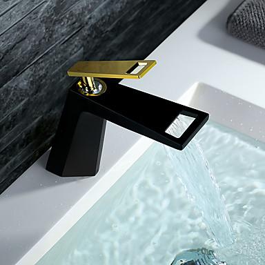 חדר רחצה כיור ברז - מפל מים TI-PVD / שחור סט מרכזי חור ידית אחת אחתBath Taps