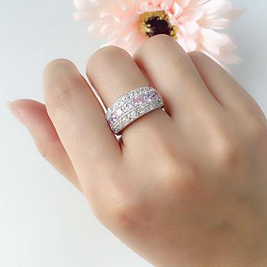 בגדי ריקוד נשים טבעת הטבעת טבעת חברות זירקונה מעוקבת 1pc לבן מצופה כסף יהלום מדומה עגול פאר קלסי מתוק חתונה Party תכשיטים רטרו אהבה חמוד / מתנה