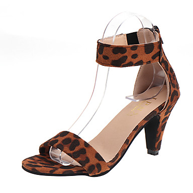 povoljno Ženske cipele-Žene Cipele na petu Stožasta potpetica Brušena koža Ljeto Pink / Leopard / Burgundac