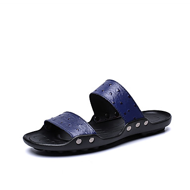 בגדי ריקוד גברים נעלי עור עור נאפה Leather קיץ קלסי / יום יומי כפכפים & כפכפים הליכה נושם בז' / חום / כחול