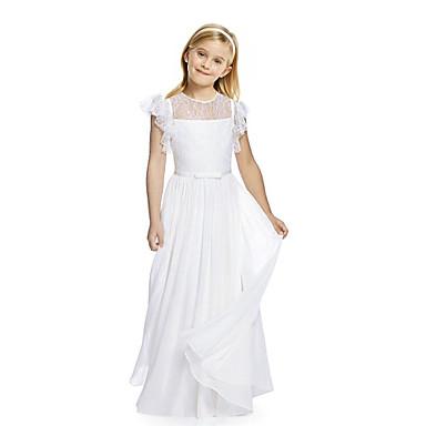 baratos Vestidos para Meninas-Infantil Para Meninas Básico Estilo bonito Sólido Renda Franzido Manga Curta Longo Seda Vestido Bege