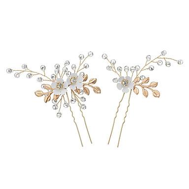abordables Coiffes-Alliage Bâton de cheveux avec Fleur 2pcs Mariage / Occasion spéciale Casque