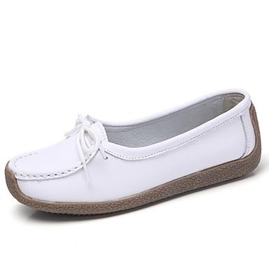 בגדי ריקוד נשים עור אביב קיץ / סתיו חורף בריטי / מִעוּטָנוּת נעליים ללא שרוכים הליכה שטוח בוהן עגולה שחור / אפור / כחול