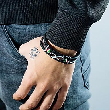 voordelige Herensieraden-Heren Lederen armbanden Schakelarmband crossover Band Stijlvol Uniek ontwerp Punk modieus Titanium Staal Armband sieraden Zwart Voor Feest Lahja Dagelijks Carnaval Club