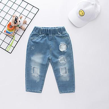 baratos Jeans Para Meninos-Infantil Para Meninos Activo Moda de Rua Estampado Com Corte Buraco rasgado Algodão Jeans Azul