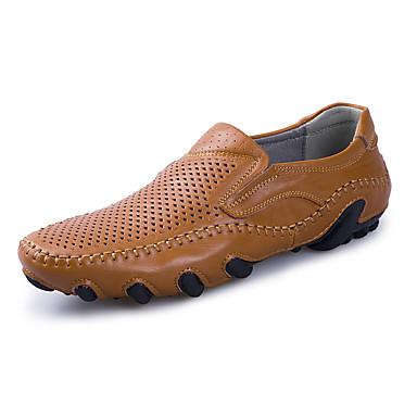 בגדי ריקוד גברים נעלי נוחות עור אביב קיץ עסקים / יום יומי נעליים ללא שרוכים נושם שחור / צהוב / בורדו