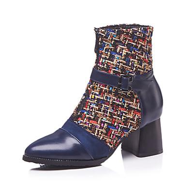 בגדי ריקוד נשים נעליים בסגנון הבריטי PU סתיו חורף וינטאג' / בריטי מגפיים עקב עבה בוהן עגולה מגפיים באורך אמצע - חצי שוק שחור / כחול / מסיבה וערב