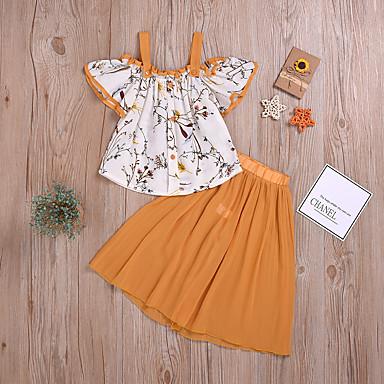 hesapli Bebek Kıyafet Setleri-Bebek Genç Kız Temel / Sokak Şıklığı Desen Arkasız / Büzgülü / Desen Kolsuz Normal Normal Kıyafet Seti Gökküşağı