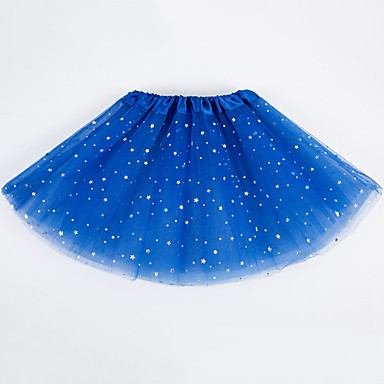 baratos Saias para Meninas-Infantil Para Meninas Básico Sólido Saia Azul Claro