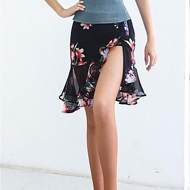 ריקוד לטיני חלקים תחתונים בגדי ריקוד נשים הצגה ספנדקס דוגמא \ הדפס / סלסולים טבעי חצאיות