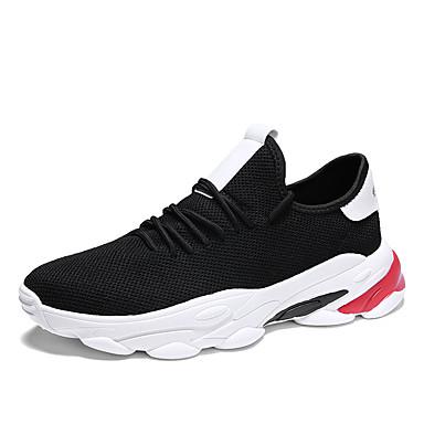 בגדי ריקוד גברים אור סוליות PU / בד גמיש אביב קיץ ספורטיבי נעלי אתלטיקה נושם לבן / שחור / בז'