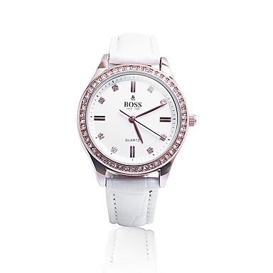 baratos Relógios Senhora-Mulheres Relógios de Quartzo Fashion Branco Couro Legitimo Chinês Quartzo Branco Impermeável 30 m Analógico Um ano Ciclo de Vida da Bateria