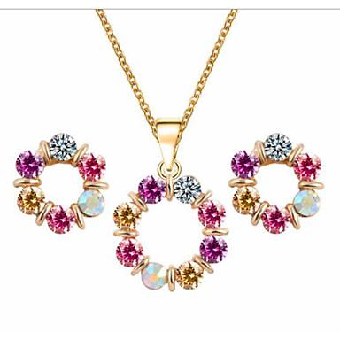 בגדי ריקוד נשים יהלום זעיר סטי תכשיטי כלה קלאסי אהבה סגנון חמוד לוליטה צבעוני עגילים תכשיטים סגול עבור Party יומי 1set