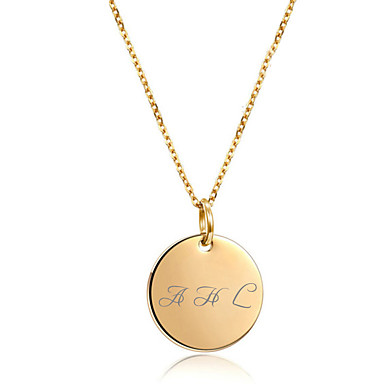 cheap Customized Jewelry-Personalized Coin Necklace Trendy Casual / Sporty Modern Stainless Steel Gift Promise Festival Round 1pcs Gold Silver Rose Gold / Laser Engraving