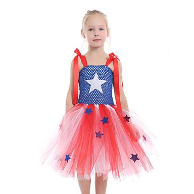 a50f83b1a Kids Toddler Girls' Active Cute Blue Galaxy Mesh Patchwork Sleeveless  Knee-length Polyester Spandex Dress Blue