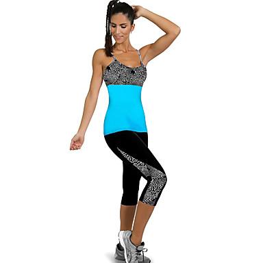 בגדי ריקוד נשים מכנסי יוגה פס ריצה כושר וספורט כושר אמון 3/4 טייץ לבוש אקטיבי פתילת לחות סטרצ'י (נמתח) סקיני