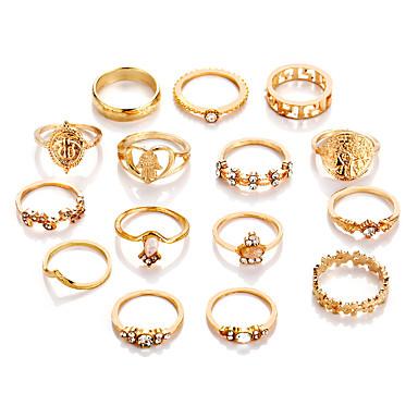 בגדי ריקוד נשים טבעת הגדר זירקונה מעוקבת 5pcs זהב סגסוגת מעגלי ארופאי חתונה תכשיטים חמוד