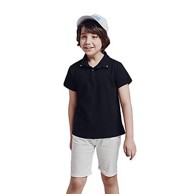 b72e1de64e888 Çocuklar Toddler Genç Erkek Actif Temel Desen Kısa Kollu Normal Pamuklu Polyester  Kıyafet Seti Siyah