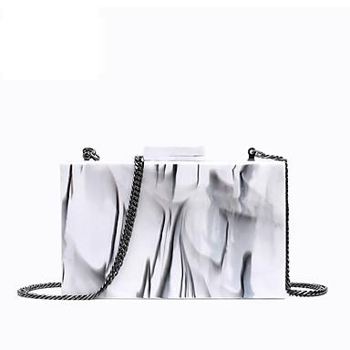 בגדי ריקוד נשים דוגמא \ הדפס אקרילי תיק ערב תבנית גאומטרית לבן חלב / סתיו חורף