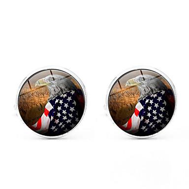 חפתים דגל דגל אמריקאי קלסי ארופאי סִכָּה תכשיטים שחור כסף מוזהב עבור יומי פֶסטִיבָל