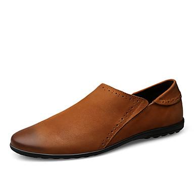 בגדי ריקוד גברים נעליים פורמליות עור אביב קיץ עסקים / יום יומי נעליים ללא שרוכים הליכה ללא החלקה שחור / חום / מסיבה וערב