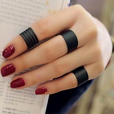 voordelige Herensieraden-Heren Dames manchet Ring Ring Set Open Ring 3 stuks Zwart Titanium Legering Cirkelvorm Stijlvol Eenvoudig Vintage Feest Lahja Sieraden Retro / Verstelbare ring