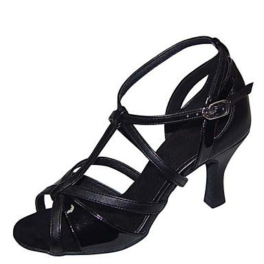 בגדי ריקוד נשים נעלי ריקוד PU נעליים לטיניות Paillette עקבים עקב רחב מותאם אישית כתום / חום / חאקי / הצגה / עור / אימון