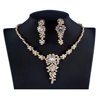 בגדי ריקוד נשים אדום סטי תכשיטי כלה תגובת שרשרת בוטני פאר סגנון נתלה צִיצִית אבן נוצצת עגילים תכשיטים זהב עבור חתונה Party ארוסים מתנה פֶסטִיבָל 1set