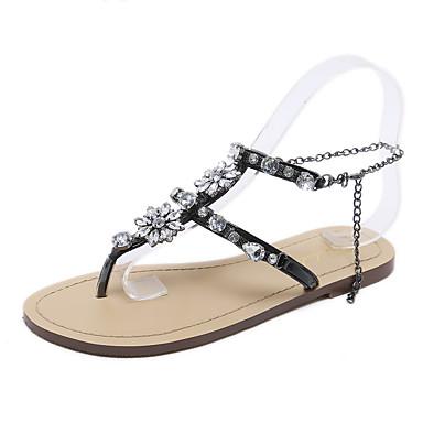 billige Toppsalg-Dame Sandaler Flat Heel Sandals Flat hæl Åpen Tå Rhinsten Fuskelær Søt Vår & Vinter Mørkegrå / Sølv / Svart / Hvit