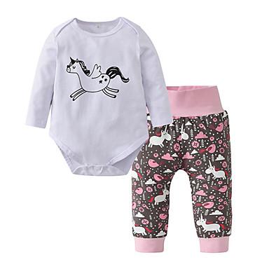povoljno Odjeća za bebe-Dijete Djevojčice Ležerne prilike / Aktivan Print Print Dugih rukava Regularna Pamuk Komplet odjeće Obala / Dijete koje je tek prohodalo