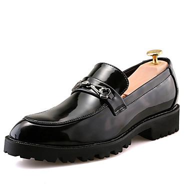 Erkek Ayakkabı PU Sonbahar Günlük Mokasen & Bağcıksız Ayakkabılar Günlük için Siyah / Kırmzı / Mavi / Zıt Renkli