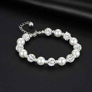 abordables Bracelet-Bracelet à Perles Bracelet Femme Classique Imitation de perle Imitation Diamant Boule Coréen Doux Mode Elégant Bracelet Bijoux Argent pour Mariage Soirée Fiançailles Cadeau Quotidien