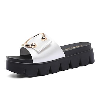 voordelige Damespantoffels & slippers-Dames Slippers & Flip-Flops Slippers Creepers Synthetisch Zoet / minimalisme Lente & Herfst / Zomer Wit / Zwart